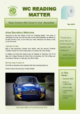 West Cheshire MGOC newsletter